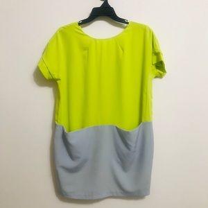 Vertigo Neon Green and Grey Color Block Dress